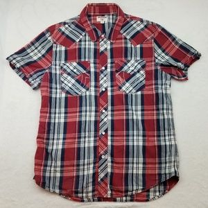 True Religion Red Plaid Short Sleeve Pearl Snap L